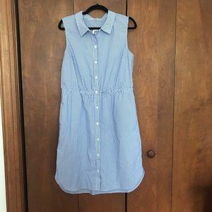 Blue stripe button front cotton blend dress